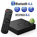 Bonve Pet Android 8.1 TV Box 4K Boîtier TV [4GB RAM+64GB ROM] [2019 Dernière Version] HK1 Max S Android 8.1 Smart TV, Android Box avec HD/Dual-WiFi/H.265 / 4K / 3D / BT4.1 Cadeau pour Noel