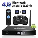 GooBang Doo Android 7.1 Smart TV Box, 2018 XB-III Boîtier TV 2Go RAM 16Go ROM Quad Core Réel 4K H.265 WiFi 2.4GHz Bluetooth V4.0 avec Mini Clavier(QWERTY) Touchpad sans Fil