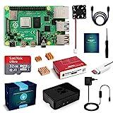 LABISTS Raspberry Pi 4 Modèle B (4 B) 4Go Starter Kit [ 2019 Version Dernière ] 32 Go Classe 10 Micro SD Carte, 5,1V 3A Alimentation Interrupteur Marche/Arrêt, Ventilateur, Boîtier Noir, Dissipateur