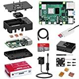 Bqeel Raspberry Pi 4 Modèle B【2019 Version Dernière】 2Go RAM+64 Go Classe 10 Micro SD Carte, 5V 3A Alimentation Interrupteur Marche/Arrêt, Ventilateur, Boîtier Noir,Dissipateur